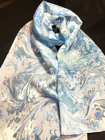 Light Blue Water Marbled Scarf