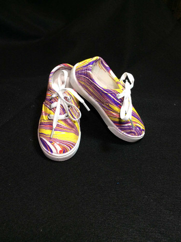 Yellow, Purple Water Marbled Shoes
