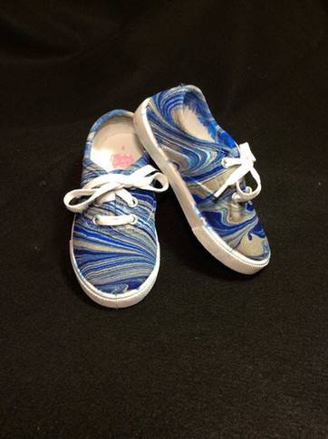 Blue, Gray Water Marbled Canvas Shoes