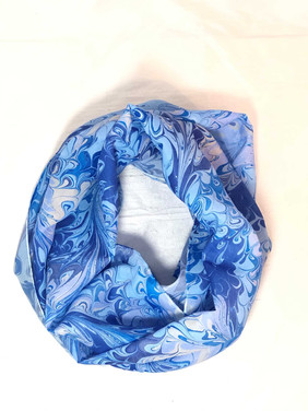 Shades of Blue Water Marbled  Scarf