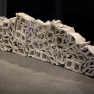 """""""Regurgitated Wall"""" cotton gauze, cheesecloth, tracing paper, flour paste, and shellac. 36"""" x 84""""x 12"""" 2020"""