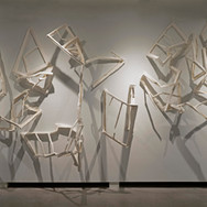"""Broken Windows""  kozo paper and adhesive 7' x 13' x 3'  2020"