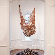 Beauty for Ashes ceramic, charcoal, ash, cotton thread, paper bricks, and clay slip 11' x 4' x 3' 2019
