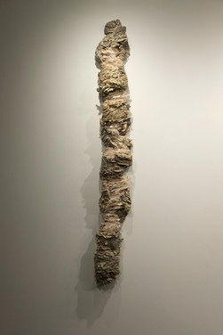 """Layered Identity I ceramic, mason stains, and repurposed tracing paper and cheesecloth 68""""x 12""""x 7"""" 2018"""