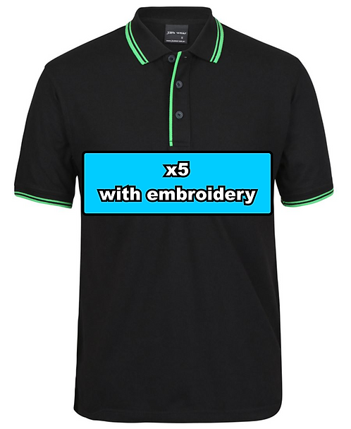 5x MEN'S CONTRAST POLO with embroidery