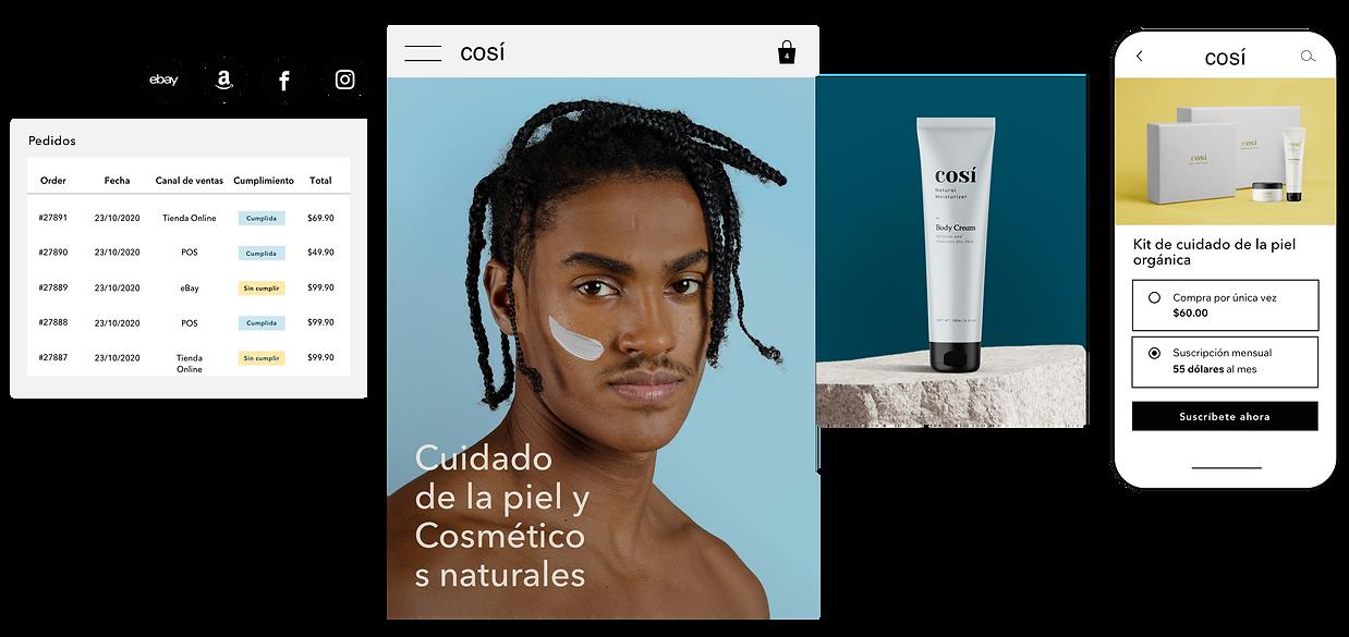 Cumplimiento de pedidos con múltiples canales de venta para un sitio web de cosmética natural, y una opción para comprar una suscripción del producto en el móvil.