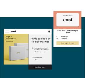 Tienda de cosméticos en línea que ofrece tarjetas de regalo digitales y paquetes de suscripción de productos.