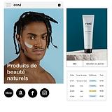 Exécution d'une commande et plusieurs canaux de vente pour un site de produits de beauté naturels et l'option d'acheter un abonnement à un article via mobile.