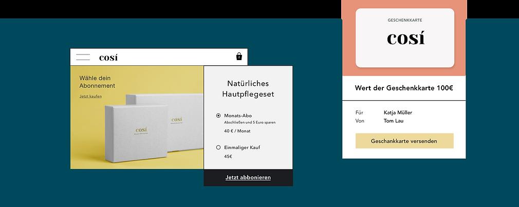 Online-Kosmetikgeschäft mit digitalen Geschenkkarten und Produktabonnements.