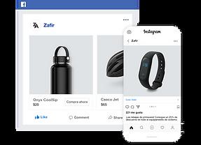 Canales de venta en Facebook e Instagram para una tienda online de productos de ciclismo.