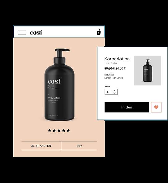 """Körperlotion zum Verkauf auf einer Website, mit einem """"""""In den Warenkorb""""""""-Button."""
