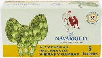 ALCACHOFAS RELLENAS DE VIEIRAS Y GAMBAS