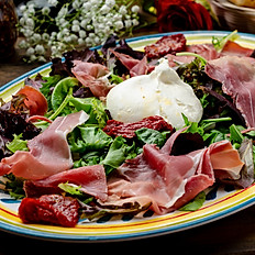 BURRATA AND PROSCIUTTO SALAD