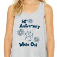Girl's Flowy 50th Tank - Light Grey - Large - In Stock