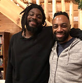 photo of author Jason Reynolds with the speaker in this Ted Talk, Matthew Carter