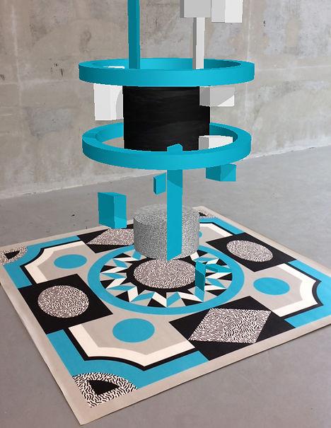 Sculpture Virtuelle et tapis de l'artiste Marie Maillard