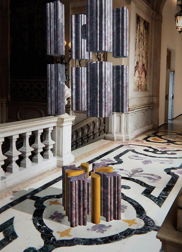 Sculpture virtuelle de l'artiste Marie Maillard au Palazzo Grassi, Venezia, Italia