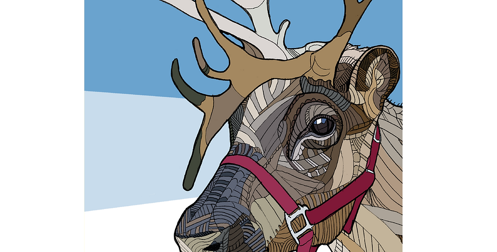 Reindeer Blue - Large A5 Card