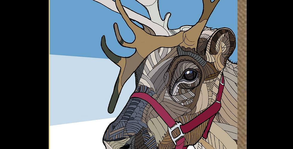 Reindeer Blue - A6 Card