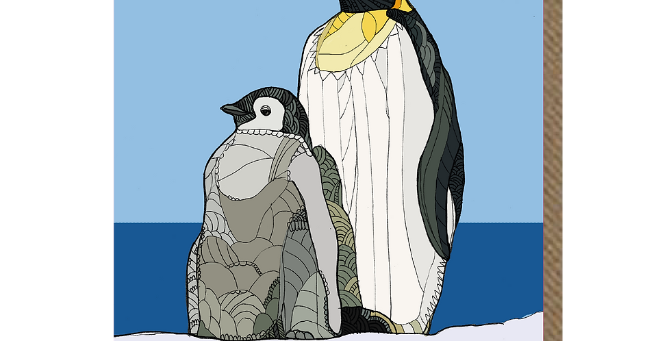 Penguin Blue - A6 Card