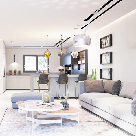 הדמיה לסלון בדירה לדוגמא