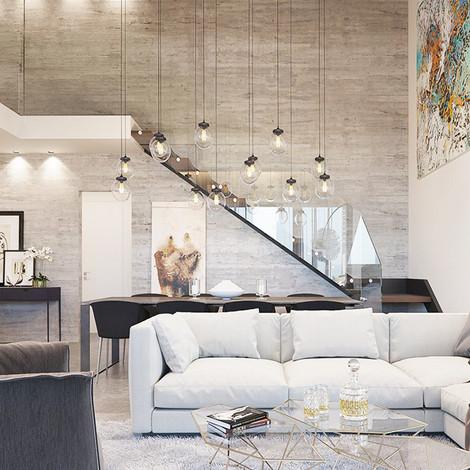 הדמיה לסלון בדירת פנטהאוז