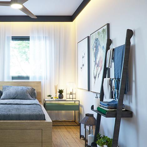הדמיה לחדר שינה בדירה לדוגמא