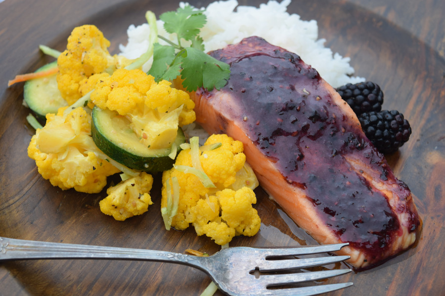Salmon With Blackberry Glaze