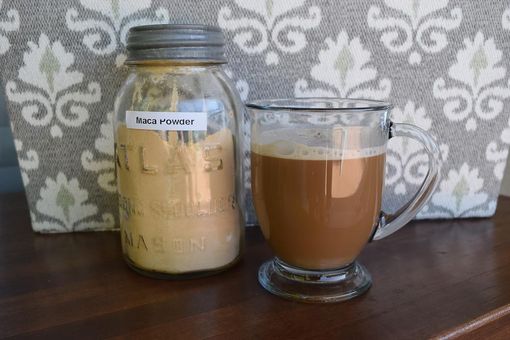 maca powder and latte