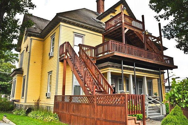 Side of victorian house in Milford New York 5 minutes from Cooperstown NY, Owned by Cooperstown Connection and Best Cooperstown Lodging Inc. Offering home rentals sleep 50+ people in 9 connected suite apartments, largest house in Milford NY
