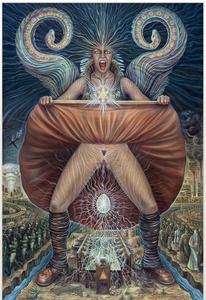 'ANA-SUROMAI' egg tempera, casein & oil on linen – 53.5 x 79″ by Amanda Sage