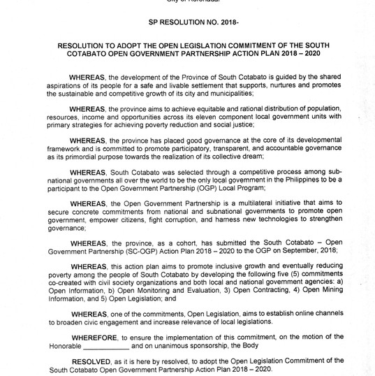 Draft Resolution to Adopt Open Legislati