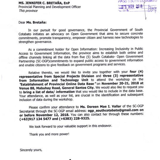 Establishment of Provincial Online Datab