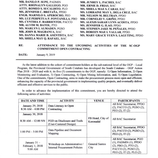 Attendance to Upcoming SC-OGP Open Contr