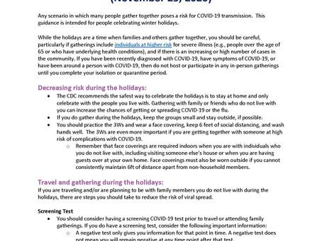 Interim Guidance for Winter Holidays