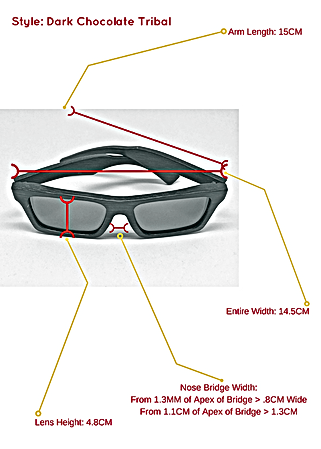 Dark chocolate tribal bamboo sunglasses and the specific measurements so you know exactly how they can fit your face and head structure.