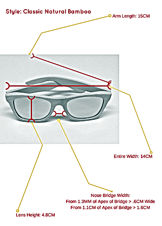 Classic natural bamboo sunglasses and the specific measurements so you know exactly how they can fit your face and head structure.