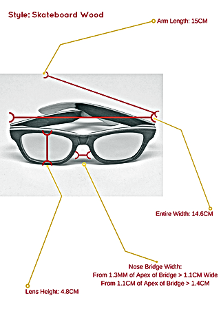 Skateboard wood sunglasses and the specific measurements so you know exactly how they can fit your face and head structure.