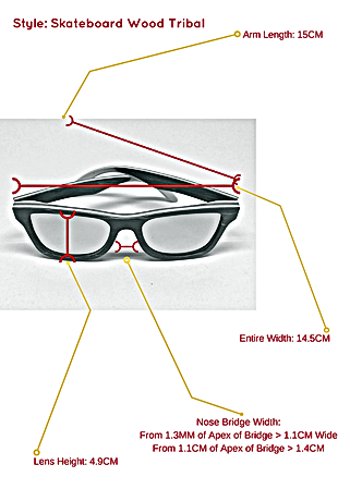 Skateboard wood tribal sunglasses and the specific measurements so you know exactly how they can fit your face and head structure.