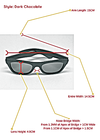 Dark chocolate bamboo sunglasses and the specific measurements so you know exactly how they can fit your face and head structure.