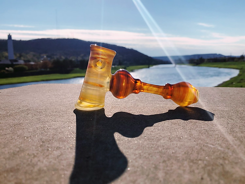Double Amber Purple w/ White Glass Hammer Pipe