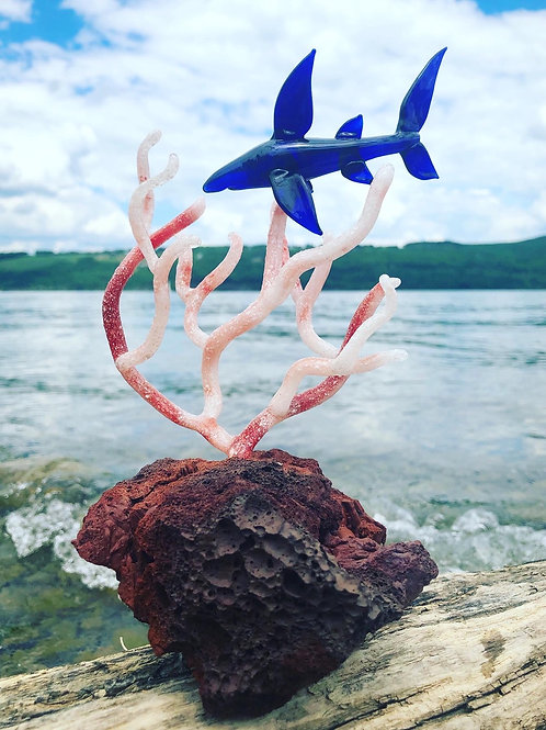 Coral Reef Shark Glass Sculpture