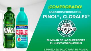 CLORALEX® y PINOL® comprueban eficacia en eliminación del virus causante del COVID-19