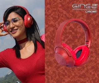 Audífonos DJ Manos Libres Bluetooth Rojo Ginga Chrome