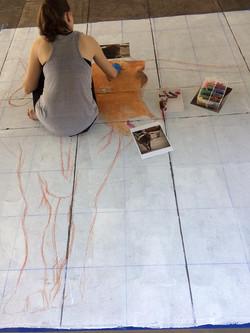 Chalk art in progress