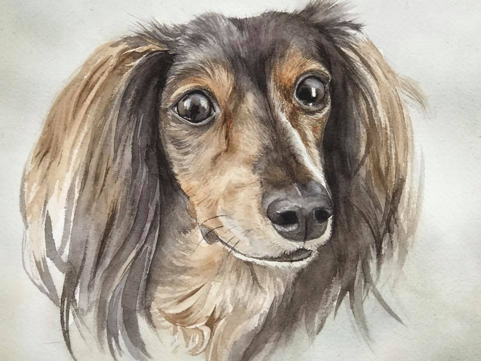 Dachshund Memorial Painting
