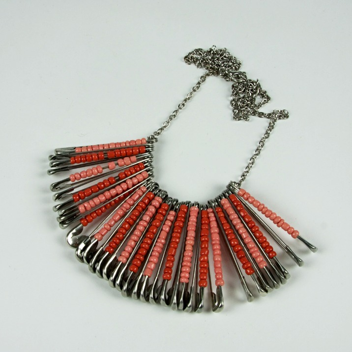 Safety pin beaded necklace