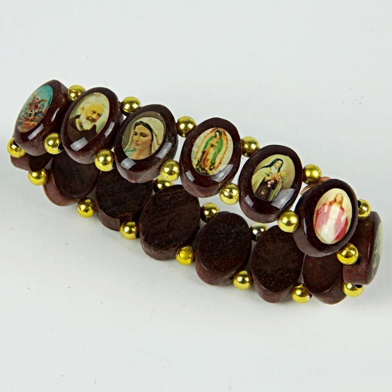 Wooden religious beaded bracelet