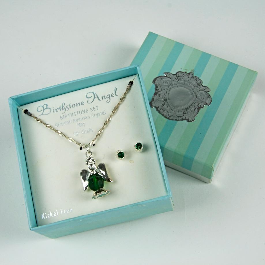 Angel birthstone necklace set