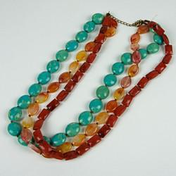 Beaded semi-precious stone necklace